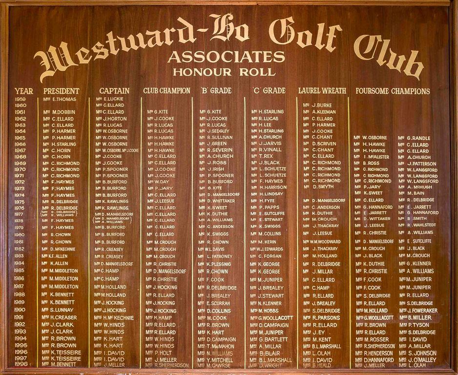 Ladies honour roll 59-98 westward ho golf club adelaide