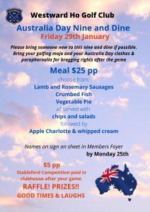 Australia Day Nine & Dine – January 29th 2021